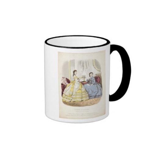 Fashion plate showing ballgowns coffee mug