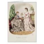 Fashion plate showing ballgowns greeting card