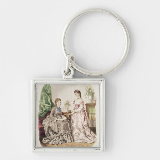 Fashion plate showing ballgowns Silver-Colored square keychain