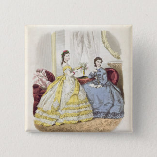 Fashion plate showing ballgowns pinback button