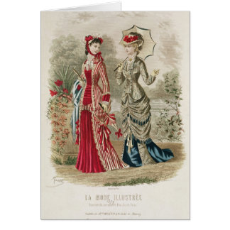 Fashion plate showing hats and dresses greeting card