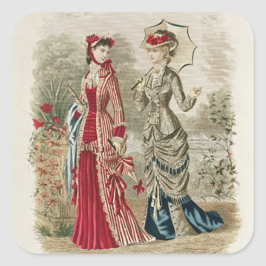 Fashion plate showing hats and dresses square sticker