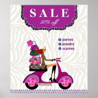 Fashion Poster Sale - Handbag Jewelry Purple