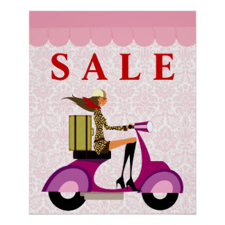 Fashion Poster Sale Scooter Woman Pink