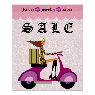 Fashion Poster Sale Scooter Woman Pink Diamonds