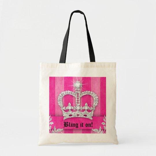 Fashion Princess Crown Handbag Jewel Pink Silver