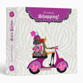 Fashion Purse School Binder Portfolio Zebra Purple