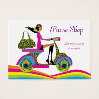 Fashion Purses Scooter Peacock Rainbow Business Card