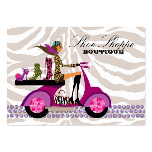 Fashion Shoes Jewelry Zebra Purple Peacock Business Card Templates