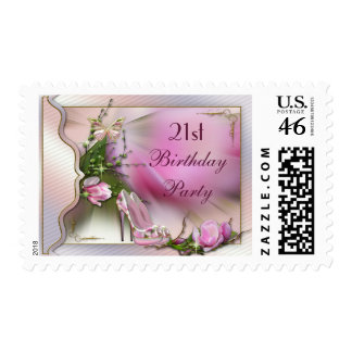 Fashion Shoes Magnolia Butterfly 21st Birthday Stamp