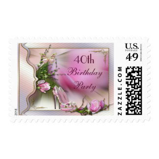 Fashion Shoes Magnolia Butterfly 40th Birthday Postage Stamp