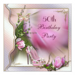 """Fashion Shoes Magnolia Butterfly 50th Birthday 5.25"""" Square Invitation Card"""