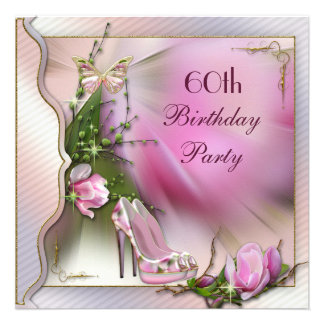 Fashion Shoes Magnolia Butterfly 60th Birthday Personalized Invitation
