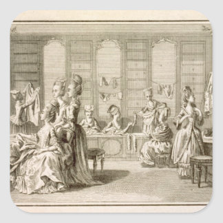 Fashion shop, from the 'Encyclopedia' by Denis Did Square Sticker