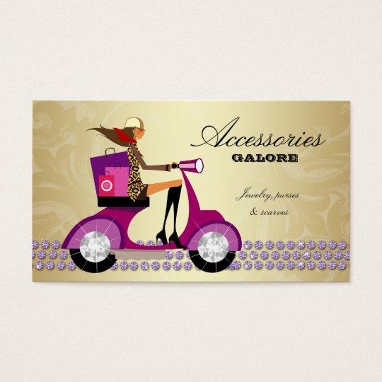 Fashion Shopping Bags Jewelry Purple Gold Reg Business Card