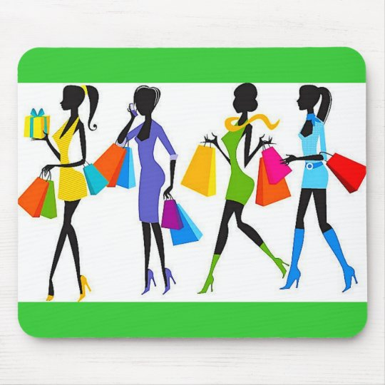 Fashion Shopping Girls Illustration Mouse Pad