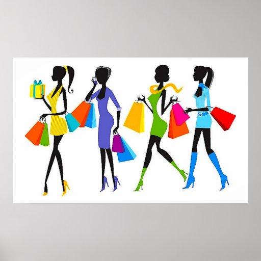 Fashion Shopping Girls Illustration Posters