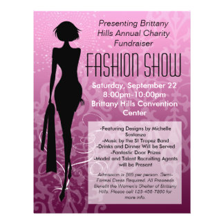 Fashion Show Flyer Pink Silhouette Swirl