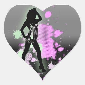 Fashion silhouette Bachelorette Party Invitation Heart Sticker