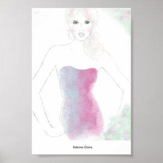 Fashion Sketch - Blend Dress Poster