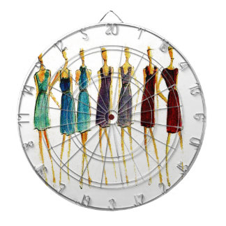 Fashion sketch dartboard with darts