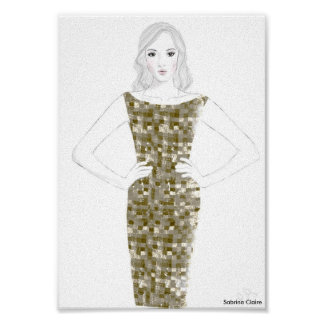 Fashion Sketch - Gold Dress Poster