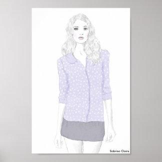 Fashion Sketch - Polka Dot Cardigan Poster