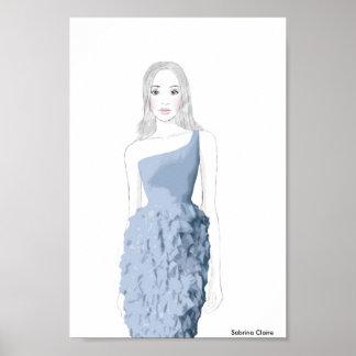 Fashion Sketch - Ruffle Dress Poster