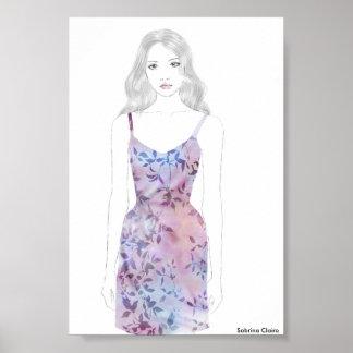 Fashion Sketch - Watercolor Dress Poster