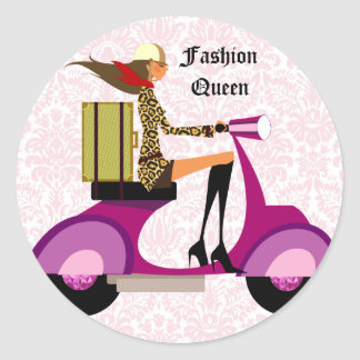 Fashion Stickers Scooter Woman Pink Leopard