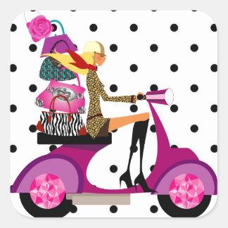 Fashion Stickers Scooter Woman Purses Dots