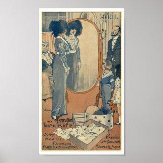 Fashion store Haute Couture Paris 1900 woman Poster