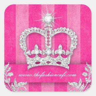 Fashion Stripes Sticker Jewelry Pink Crown