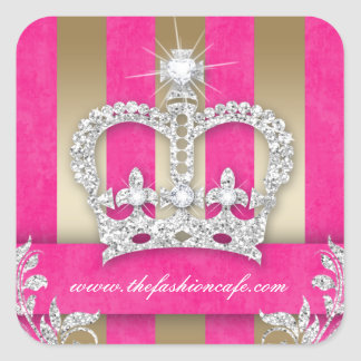 Fashion Stripes Sticker Jewelry Pink Crown Gold