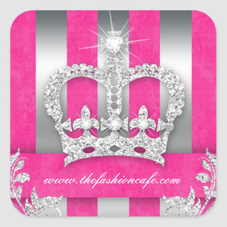 Fashion Stripes Sticker Jewelry Pink Crown Silver