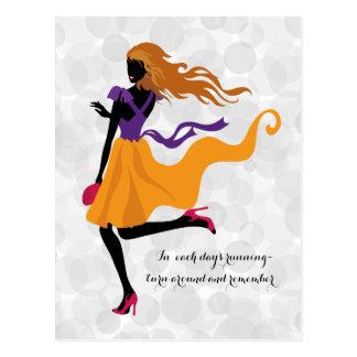 Fashion stylish bright silhouette ilustration postcard