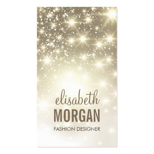 Fashion Stylish - Shiny Sparkles with Gold Glitter Business Card Templates