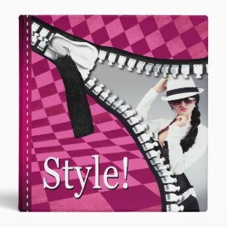 Fashion Stylist Checkerboard Zipper Portfolio 3 Ring Binder
