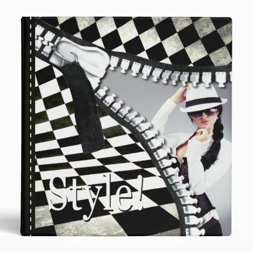 Fashion Stylist Checkerboard Zipper Portfolio Binder