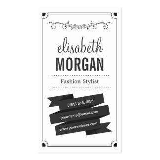 Fashion Stylist - Retro Black and White Double-Sided Standard Business Cards (Pack Of 100)
