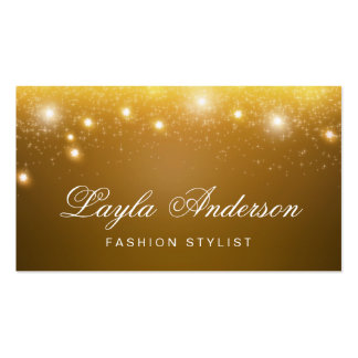 Fashion Stylist - Shimmering Gold Glitter Sparkles Business Card