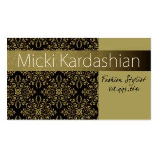 "Fashion Stylist, Wardrobe Consultant - ""Damask"" Business Card"