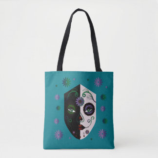 Fashion Teal Girl Skull Face Tote Purse or Bag