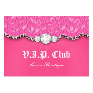 Fashion VIP Club Card Lace Lips Leopard Pink Large Business Card