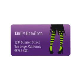 Fashion witch costume stripe leg Halloween address
