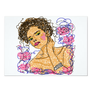 """Fashion Woman Flowers Contour Drawing Practice 5"""" X 7"""" Invitation Card"""
