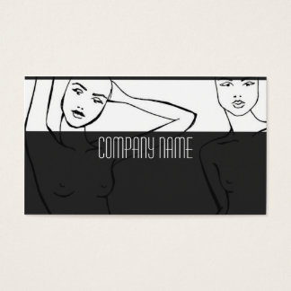 Fashion woman in black white business card