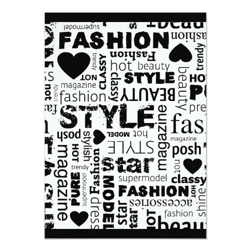 Fashion Word Collage Vector Illustration - alt 5x7 Paper Invitation Card