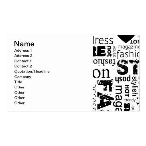 fashion word collage vector illustration alt double sided standard business cards pack of 100. Black Bedroom Furniture Sets. Home Design Ideas