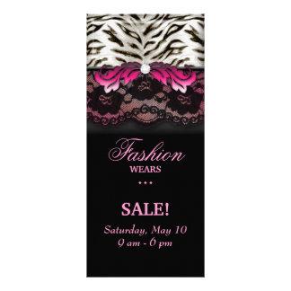 Fashion Zebra Jewelry Lace Rack Card Pink